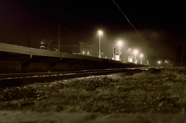 "Railwaystation ""Peri"". Night."