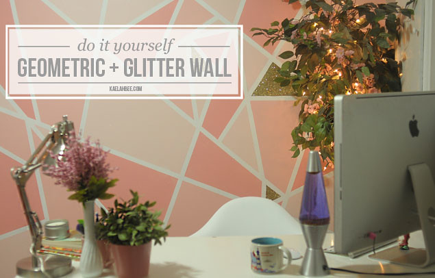 Kaelah Bee : Office Makeover - Geometric Glitter Wall DIY