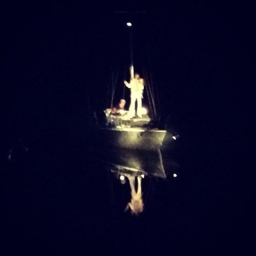 Ground control, I'm sailing in Major Tom's glittery tin yacht. @jeffduff rockin' the celestial boat. #win #totesamazeballs #riversdale #bundanon #shoalhavenriver #niteworks