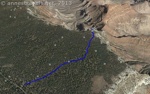 Shoshone Point Trail Map, Grand Canyon National Park, Arizona