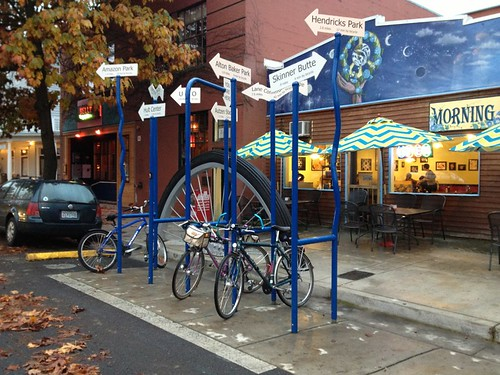Bike rack, Morning Glory coffee