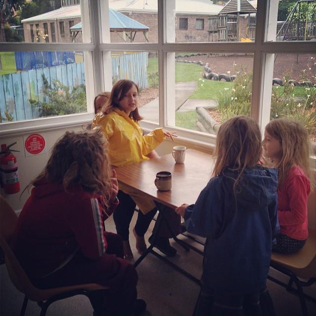 Rainy days, cups of tea, friends #coop #hobartnaturallearners