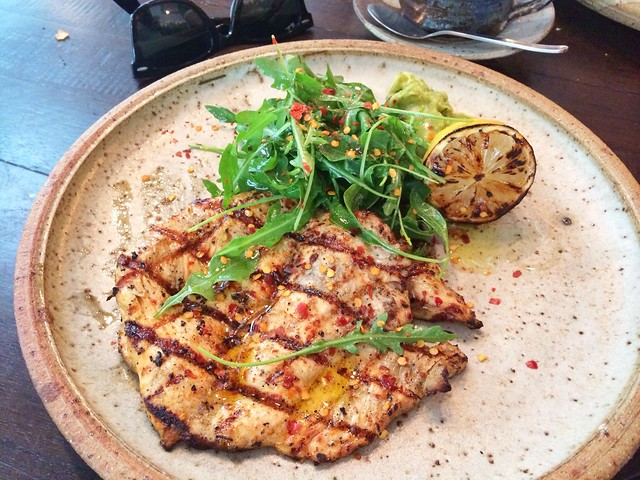 "Grilled ""Chilli"" Boneless Chicken with Crushed Avocado and Caramelised Lemon, Common Man Roasters"