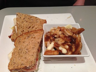 Club Sandwich with Poutine