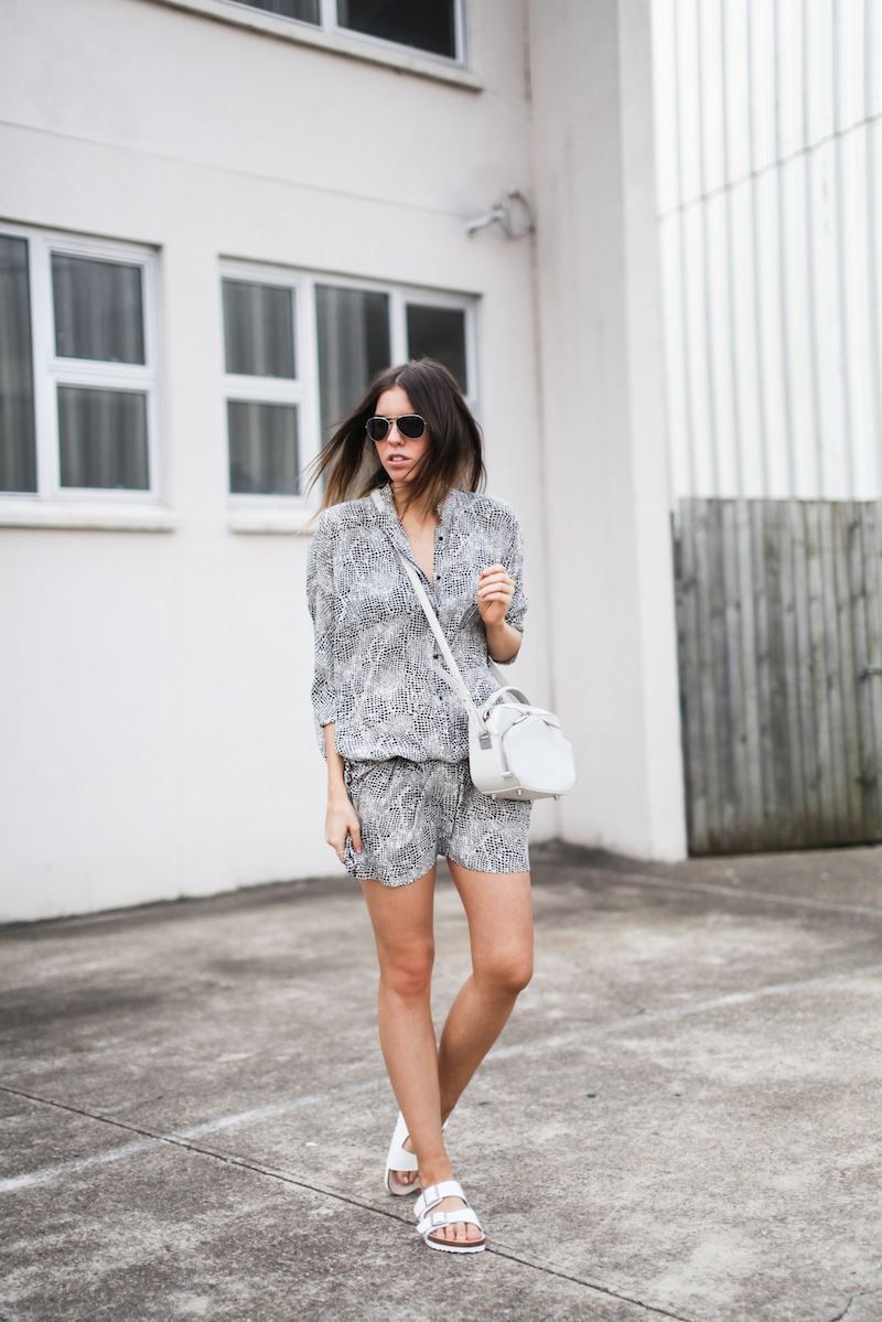 modern legacy fashion style blogger australia outfit street style willow print shirt dress white birkenstocks alexander wang rafael bag monochrome bare legs (1 of 9)