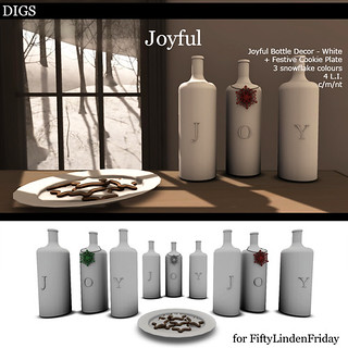 DIGS - Joyful Bottle Decor - White FLF
