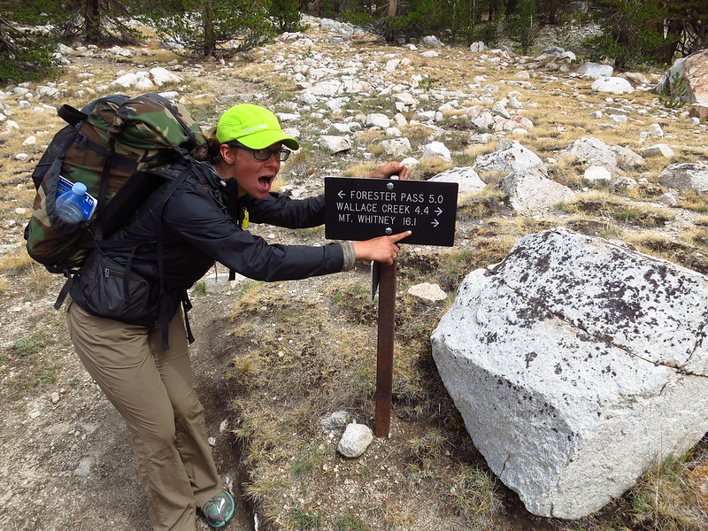 alice and the first sign for mt whitney before tyndall frog pond