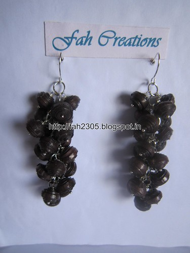 Handmade Jewelry - Paper Bead Grapes Earrings (Brown) by fah2305