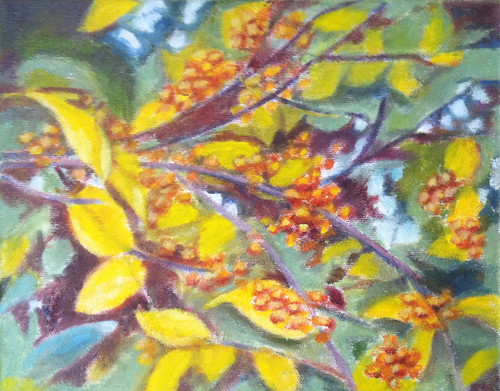 Branch with Golden Berries (Oil Bar Painting as of Dec. 15, 2013) by randubnick