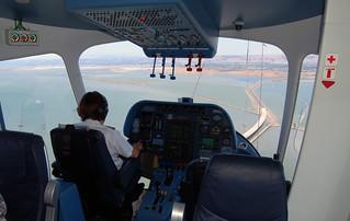 Zeppelin NT cockpit view, Dumbarton Bridge