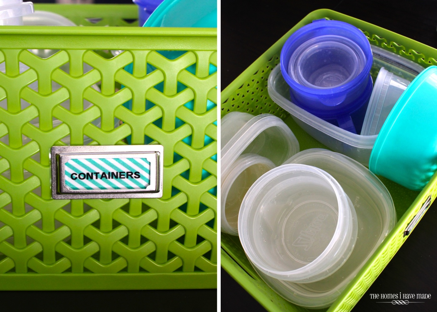 green basket filled with tupperware containers and lids