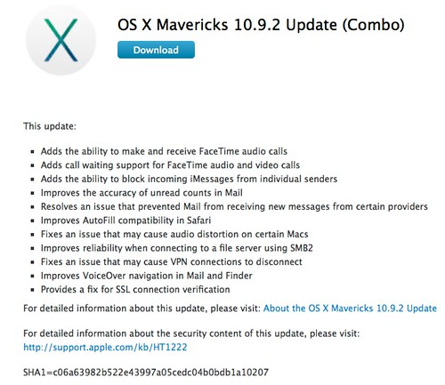 OS X Mavericks 10.9.2 Update (Combo)