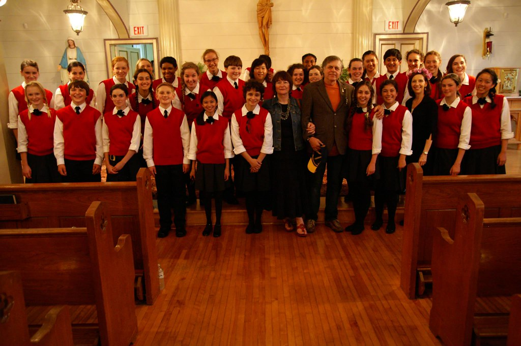 Composer Allister MacGillivray with the Los Angeles Children's Chorus in St. Mary's Church, East Bay, near Sydney, Nova Scotia