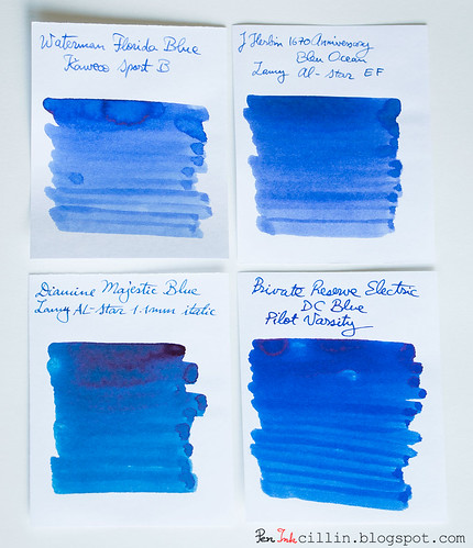 Waterman Blue 4-ink comparo