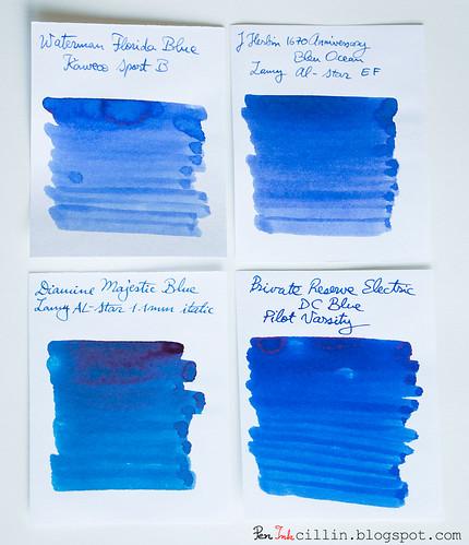 Waterman Blue 4-ink comparo