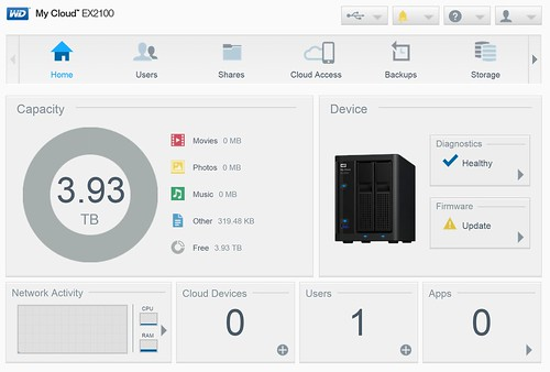 WD My Cloud EX2100 - Dashboard