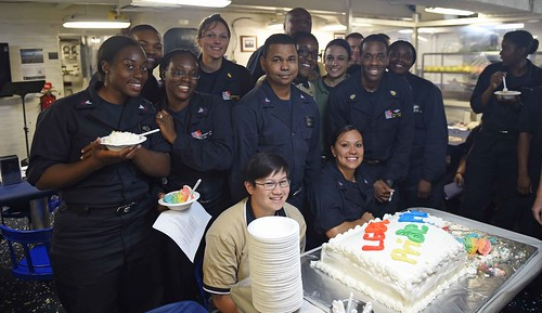 INDIAN OCEAN - Sailors celebrate Lesbian, Gay, Bisexual Transgender (LGBT) month with poetry, stories and a cake cutting ceremony in the mess decks on board the USS Ashland (LSD-48).