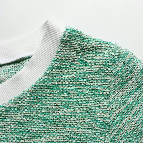 Naaiwerk terug op kruissnelheid #vakantie #sewing #sweater #mintgreen #gold #indigosweater #valerieboone #lamaisonvictor #teenager Sweaterstof @julijasshop1, boordstof @destoffenkamer