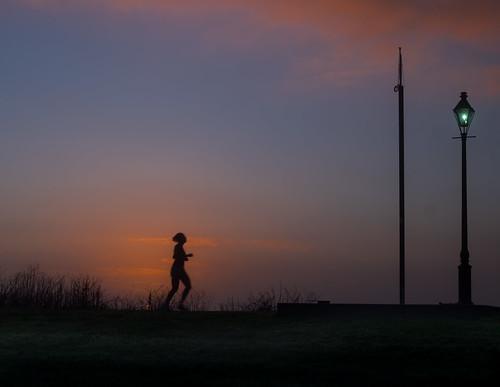 neworleans jogger sunrisefog mississippiriver moonwalk fog