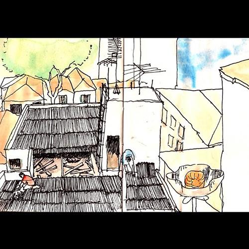 Caligrafia Urbana : Reforma no telhado #drawing #saopaulosp #saopaulocity #sketchs by Dalton de Luca