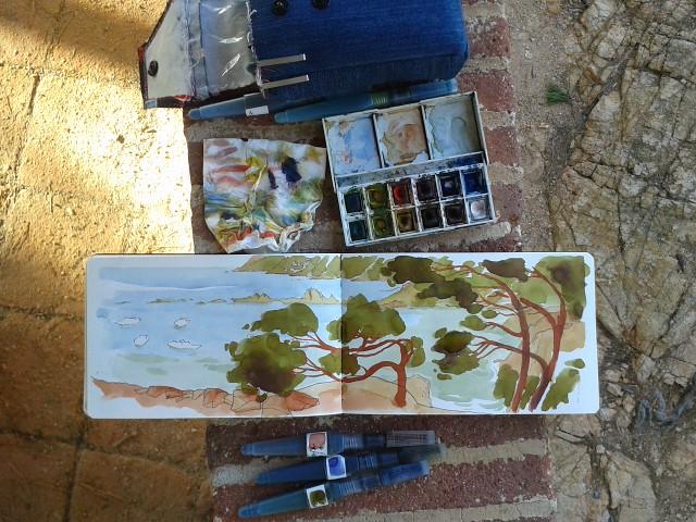 Dibujando en algún lugar entre San Feliu de Gixols y Tossa de Mar. Girona