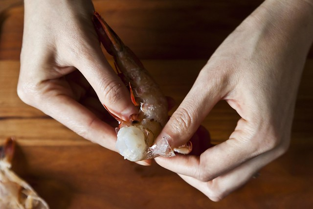 Peeling shrimp from Food52