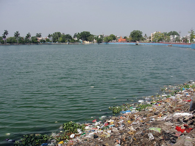 Garbage on the bank of Budha Talab - Budha talab is the largest lake in Raipur. Constructed in the 10th century by Raja Brahma Dev, this lake was used for recreational and religious purposes. It has been four decades since this lake was properly cleaned.