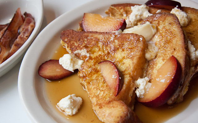 French toast, plums, bacon, 606 R&D