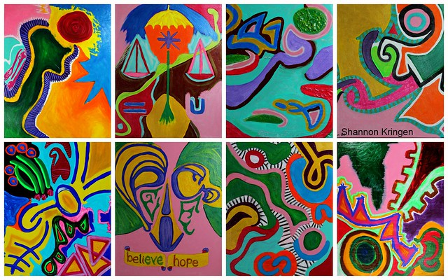 Collage of 8 recent Kring Paintings