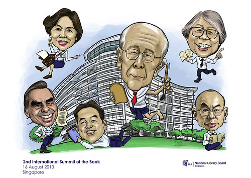 digital group caricatures for National Library (NLB) - 6