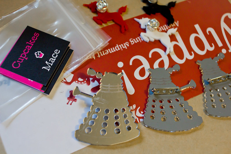 Thursday, October 3: Finishing off some dalek brooches for Made It on Victoria St.