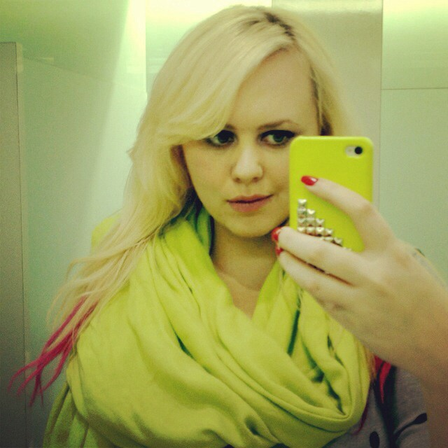 Pink tip extensions lime green scarf