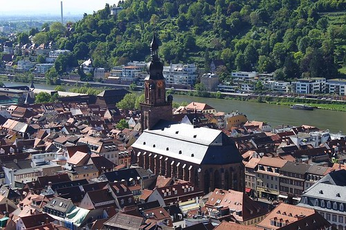 view from Heidelberg castle on the Church of the Holy Spirit