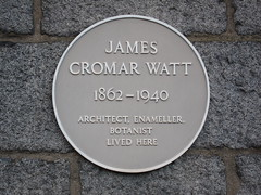 Photo of James Cromar Watt yellow plaque