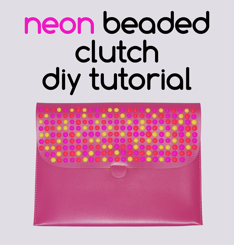 Neon beaded clutch DIY tutorial