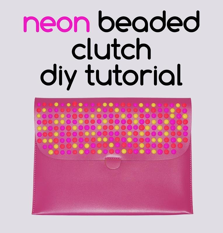 Neon beaded clutch DIY tutorial