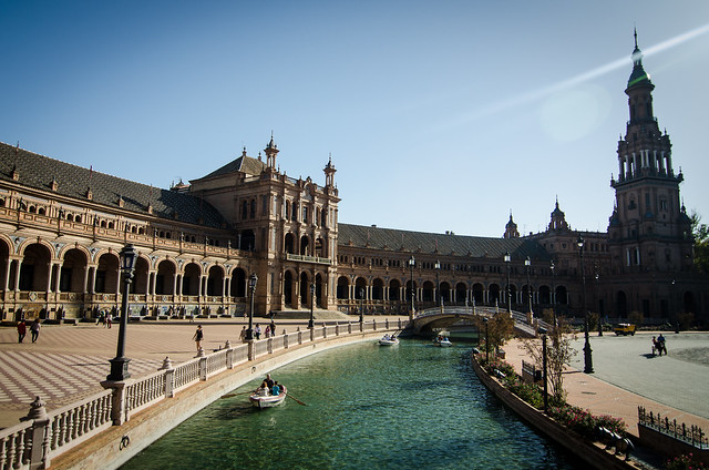 Stunning Plaza de España, a must see in Seville, Spain.