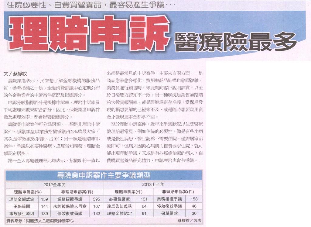 20131109[經濟日報]理賠申訴 醫療險最多--住院必要性、自費買營養品,最容易產生爭議