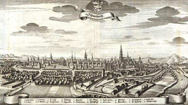 Matthäus Merian - View of Swidnica (c.1650)