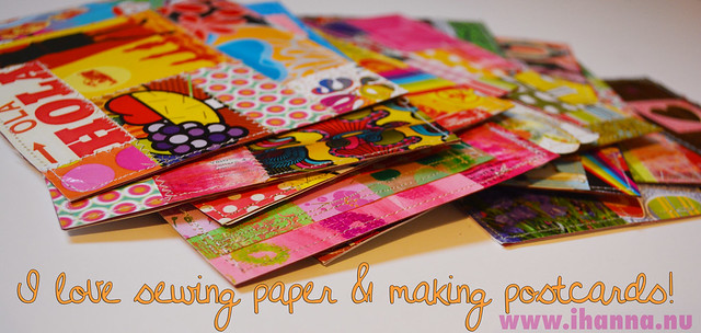 Paper Patchwork Postcards - I love sewing paper & making postcard, blog post by iHanna #DIY