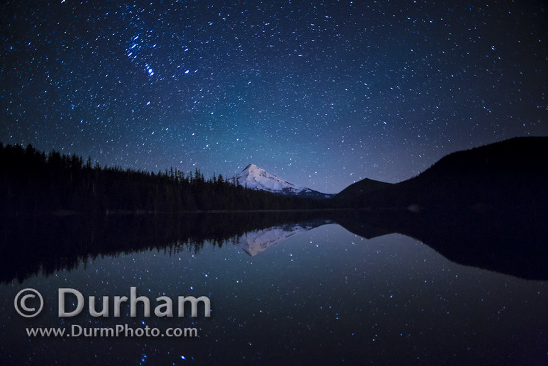 Mount Hood with star reflections in Lost Lake.