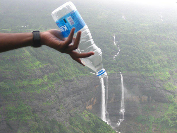 The perfectly timed waterfall in a bottle picture: