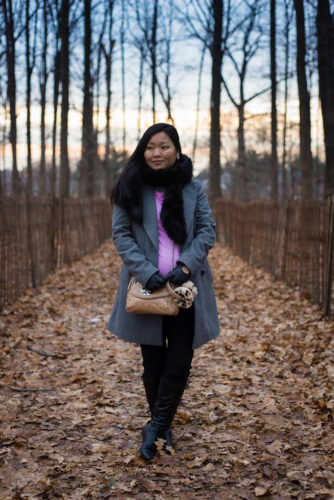 grey wool coat pink tee, express gloves, animal print earmuffs