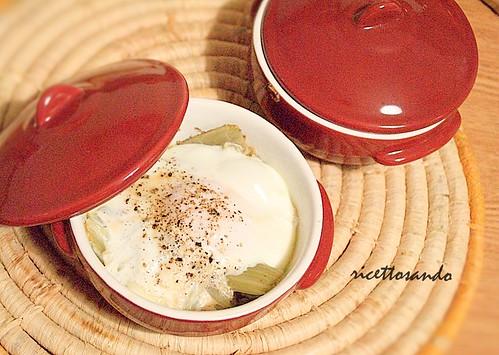 uova in cocotte  con cardi ricette vegetariane