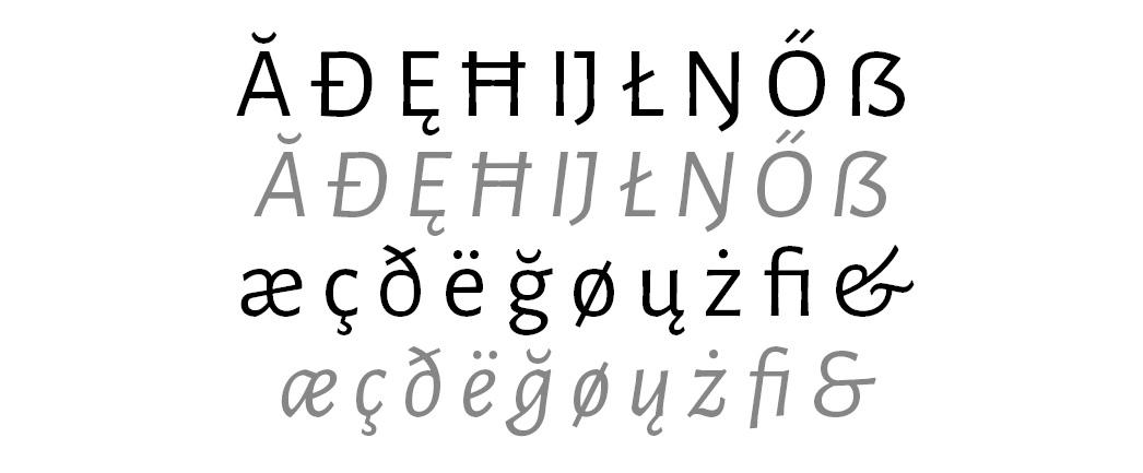 Die Zeichenvielfalt der Alegreya Sans ist schier unerschöpflich.