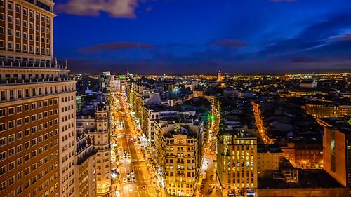 Gran Via de Madrid sunset