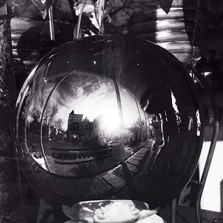 Georgetown, through a mirror ball, 35th and O Streets NW