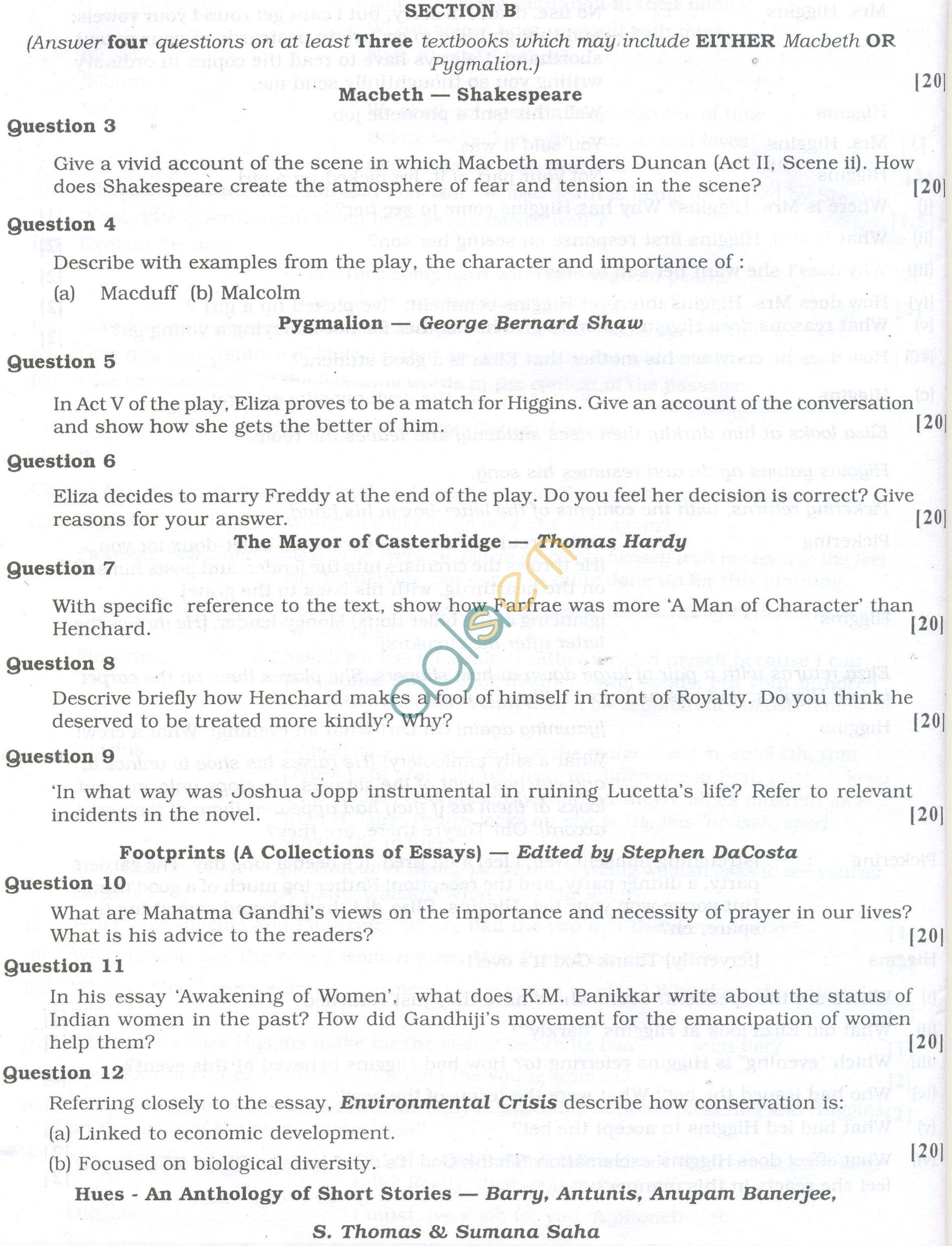 ISC Question Papers 2013 for Class 12 - English Paper 2