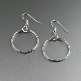 Hammered Fine Silver Hoop Earrings