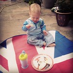 George demolishing his first picnic